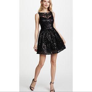 BB Dakota Tate black sequin fit & flare lace dress